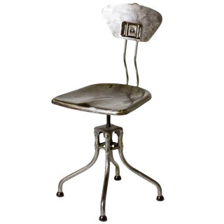 1940s French Industrial Steel Flambo Chair For Sale