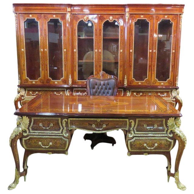 Three-Piece Italian Style Inlaid Figural Office Set For Sale