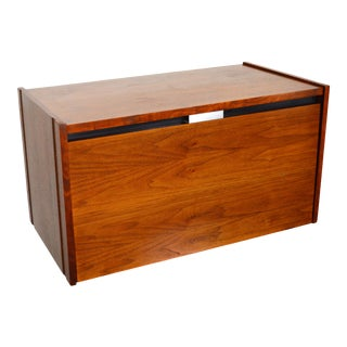1970s Barzilay Drop Front Walnut Bar Cabinet For Sale