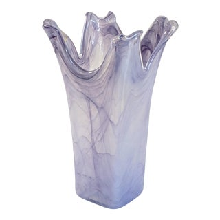 Vintage Lavorazione Arte Murano Lavender Art Glass Vase For Sale