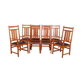 Stickley Mission Collection Cherry Set 8 Dining Chairs For Sale