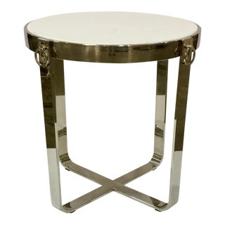 Round Nickle End Table For Sale