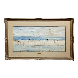 Gabriel Dauchot - Beautiful French Riviera by the Sea -C1950s Oil Painting