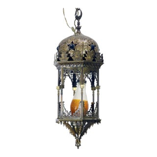 Early 20th Century Moorish Brass Hanging Lantern For Sale