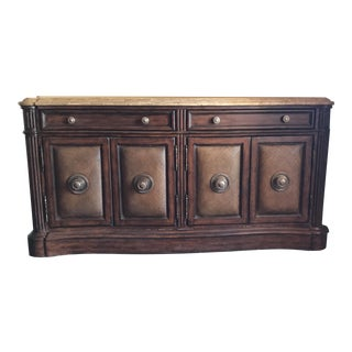 Wood & Faux Stone Top Breakfront Server For Sale