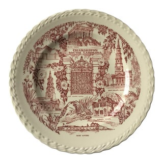 Vintage Red Toile Charleston Commemorative Plate For Sale