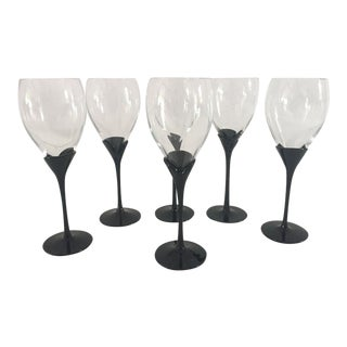 Vintage Mikasa Alexandra Black Pedal Wine Glasses - Set of 6