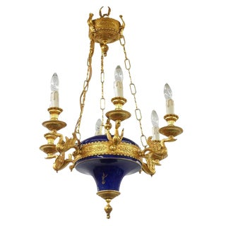 1980s French Empire Inspired Ormolu and Porcelain 6-Light Chandelier by F.B.A.I-Italy For Sale