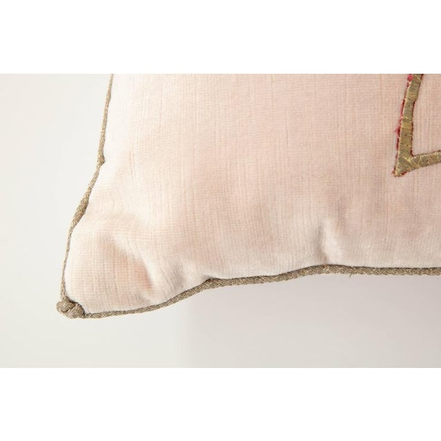 Early 21st Century Early 21st Century Vintage Pillow With Antique Embroidery For Sale - Image 5 of 9