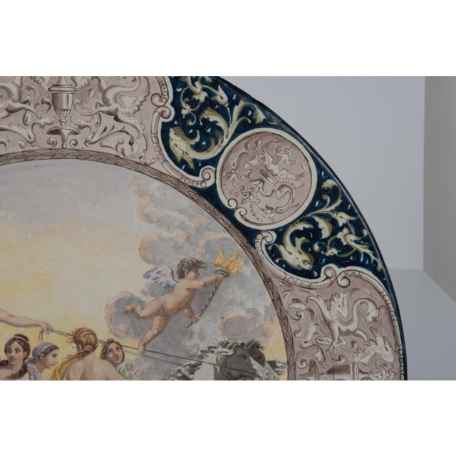 Large Italian Faience Allegorical Neoclassical Charger Icarus Chariot For Sale - Image 4 of 13