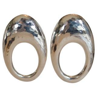 Patricia Von Musulin Large Sterling Silver Loop Hoop Clip Earrings For Sale