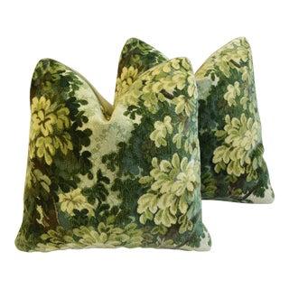 "Old World Weavers Bois De Flandre Velvet Feather/Down Pillows 19"" Square - Pair"