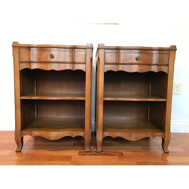 Vintage John Widdicomb of Grand Rapids Michigan Solid Cherry Wood Nightstands End Tables Country French Provincial With Gallery Rail - a Pair For Sale - Image 10 of 10