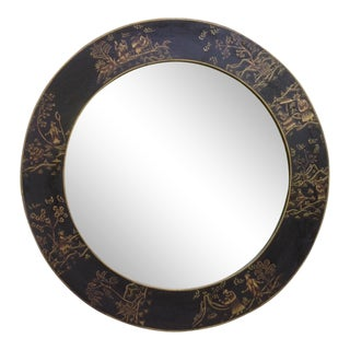 1990s Vintage Chinoiserie Style Round Mirror For Sale