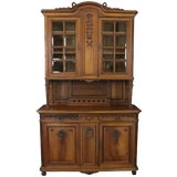 Image of Buffet Louis XVI Antique French Walnut 1900 Glass For Sale