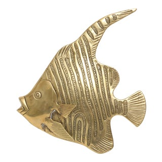 Brass Angel Fish Wall Sculpture For Sale