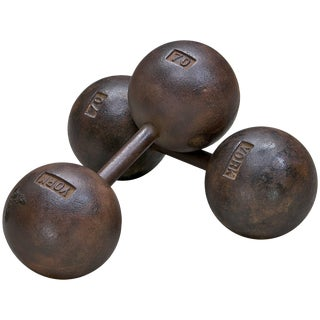 1920s Globe York Dumbbells Cast Iron 70 Vintage Pop Art Props Relic Doorstops For Sale