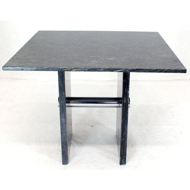 Black Square Marble Top Small Conference Dining Game Cafe Table For Sale - Image 10 of 10