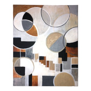Contemporary Modernist Shapes Abstract Acrylic Painting For Sale