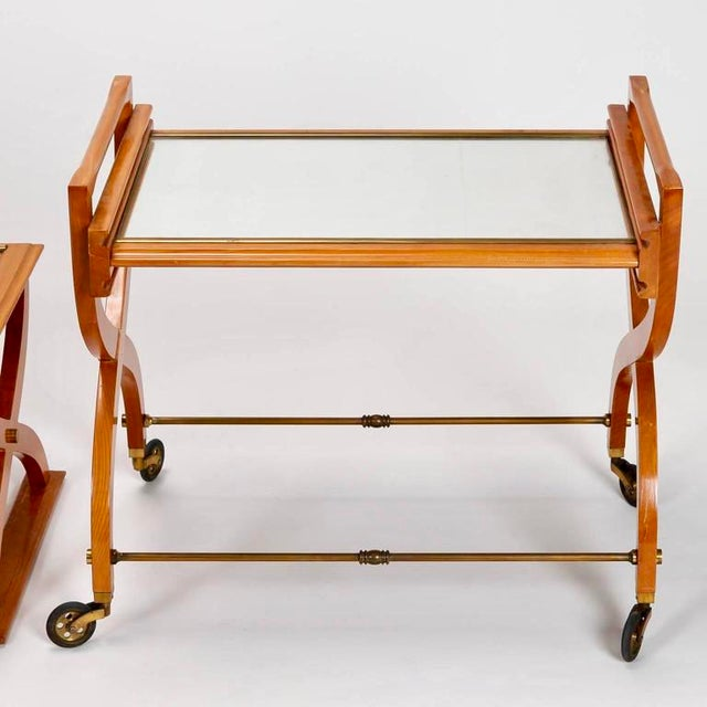 French Mid-Century Serving Trolley & Coordinating Self Storing Table - Image 4 of 11