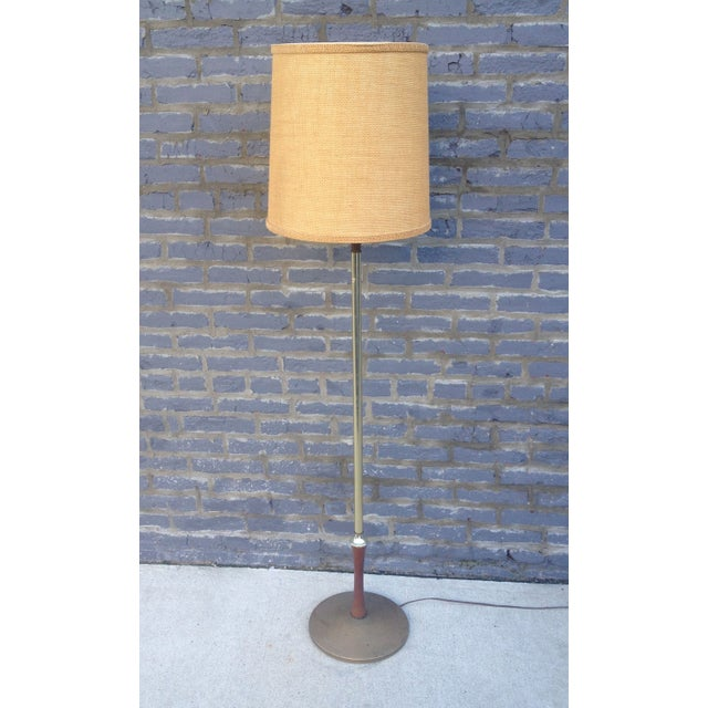 Mid Century Brass Floor Lamp w/Wood Accent - Image 2 of 7