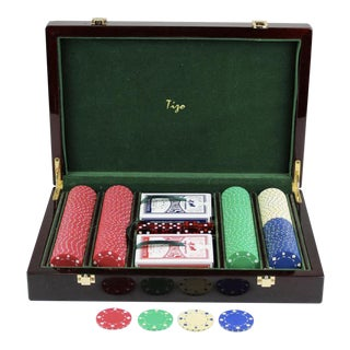 Elegant Case With Poker Chips, Cards, & Dice