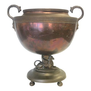 Antique Brass and Copper Gryphon Urn For Sale