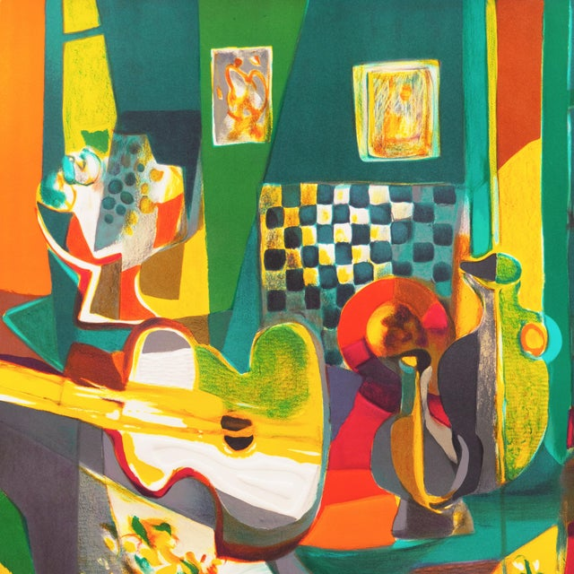 'Still Life With Guitar' by Marcel Mouly Expressionist Stone Lithograph For Sale - Image 6 of 9