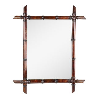 1920s French Faux Bamboo Mirror For Sale