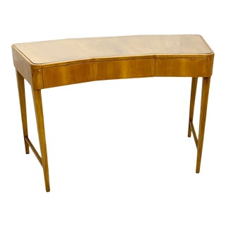 Italian Desk With Glass Top and 3 Drawers For Sale