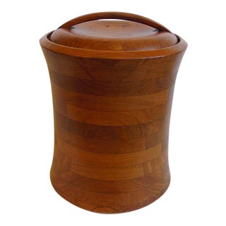 Large Vintage Mid Century Wood Ice Bucket