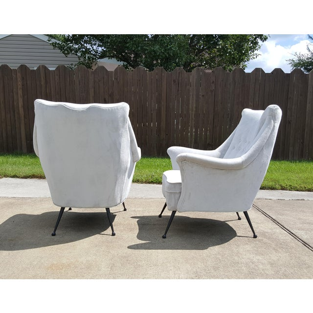 Italian Gio Ponti Style Italian Lounge Chairs - a Pair For Sale - Image 3 of 12
