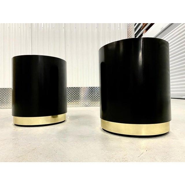 1970s Black Lacquer & Brass Cylinder Drum Side Tables - a Pair For Sale - Image 5 of 6