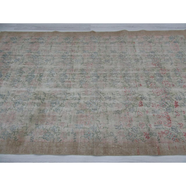 Islamic Distressed Vintage Floral Turkish Rug For Sale - Image 3 of 6
