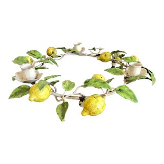 Vintage Italian Tole Painted Lemon Candle Holder For Sale
