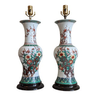 Vintage Early 20th Century Chinese Export Famille Verte Table Lamps - a Pair For Sale
