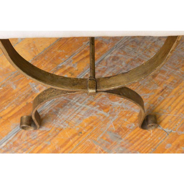 Gilt Iron Bench in Muslin For Sale In New York - Image 6 of 9