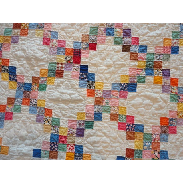 Signed and Dated 1941 Postage Stamp Double Irish Chain Quilt - Image 5 of 6