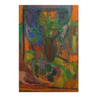 "1960, David Alexick, ""Still Life"", Abstract, Orange, Blue, Lavender, Green, Yellow, Black, Oil on Canvas"