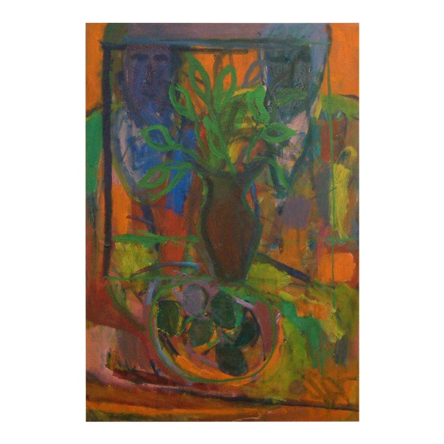 "1960, David Alexick, ""Still Life"", Abstract, Orange, Blue, Lavender, Green, Yellow, Black, Oil on Canvas For Sale"