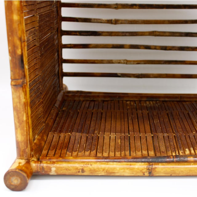 1960s Vintage Burnt Bamboo Magazine Rack For Sale In Tulsa - Image 6 of 12