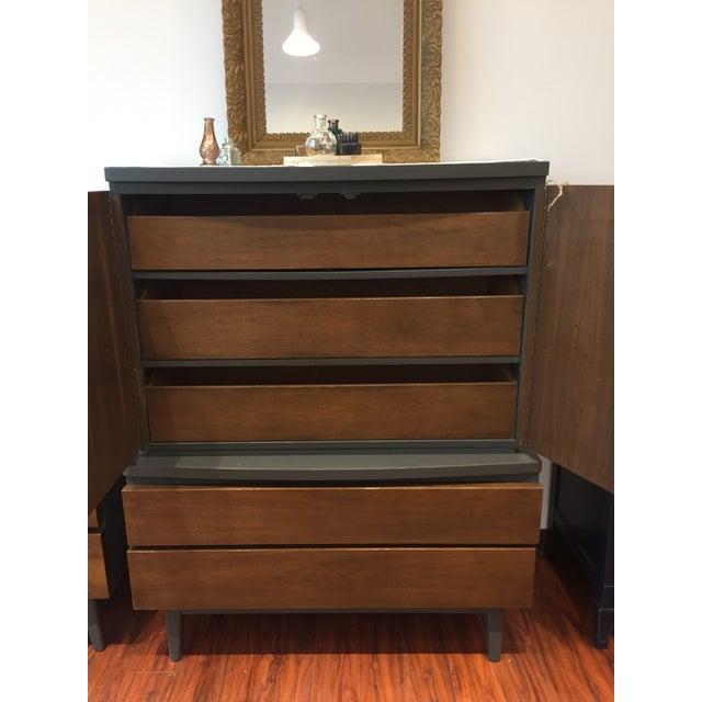 Mid-Century Modern Tall Ebony 2-Toned Dresser - Image 2 of 6