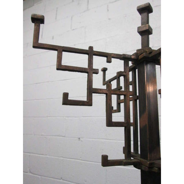 Industrial Coppered Steel Coat Tree Stand For Sale - Image 3 of 6