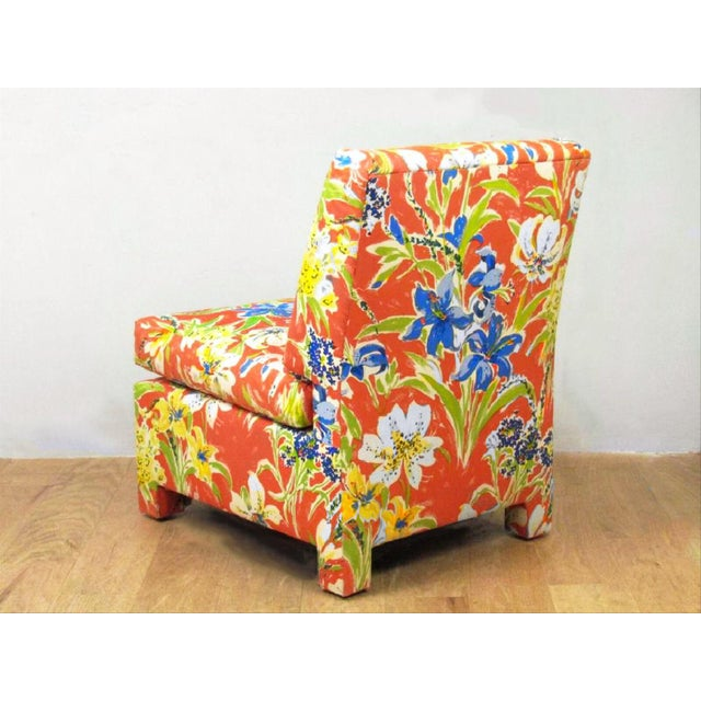 Final Markdown Blue Lillies With Sunshine Custom Chair & Ottoman - a Pair - Image 2 of 3