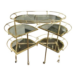 Vintage Maison Jansen Bronze & Glass Folding Cocktail Bar Cart For Sale