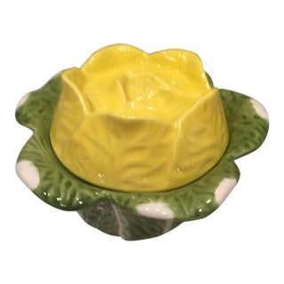 1970s Mid-Century Modern Decorative Yellow China Flower Sugar Bowl
