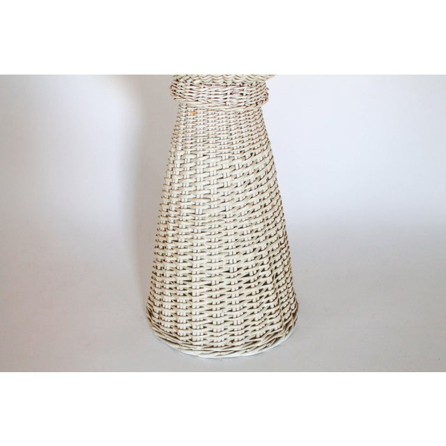 White Wicker Plant Stand - Image 2 of 6