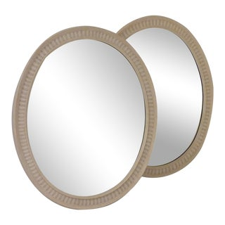 Oval White Painted Mirrors - a Pair For Sale