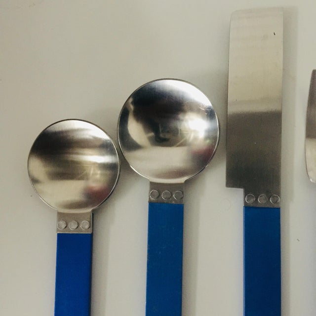 """Memphis Group 1980s 5 Piece Metal """"electra"""" Flatware by David Tisdale for Sasaki For Sale - Image 4 of 11"""