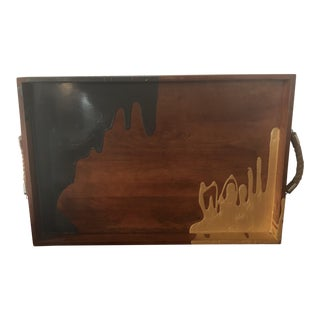 Hand Painted Original Wooden Beverage Serving Tray